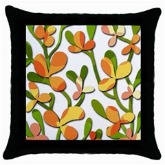 Decorative floral tree Throw Pillow Case (Black)
