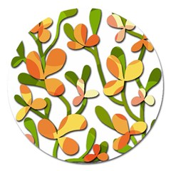 Decorative floral tree Magnet 5  (Round)