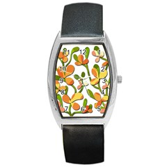 Decorative floral tree Barrel Style Metal Watch
