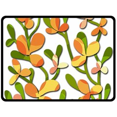 Decorative floral tree Double Sided Fleece Blanket (Large)