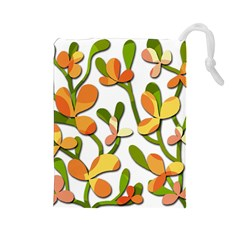 Decorative floral tree Drawstring Pouches (Large)