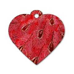 Red Peacock Floral Embroidered Long Qipao Traditional Chinese Cheongsam Mandarin Dog Tag Heart (One Side)