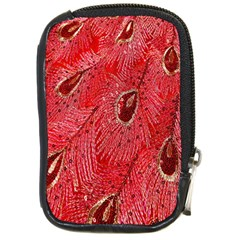 Red Peacock Floral Embroidered Long Qipao Traditional Chinese Cheongsam Mandarin Compact Camera Cases