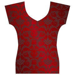 Red Dark Vintage Pattern Women s V-Neck Cap Sleeve Top