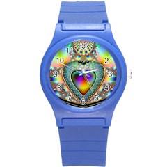 Rainbow Fractal Round Plastic Sport Watch (S)
