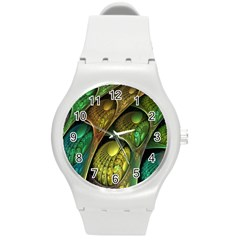 Psytrance Abstract Colored Pattern Feather Round Plastic Sport Watch (M)