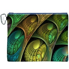 Psytrance Abstract Colored Pattern Feather Canvas Cosmetic Bag (XXXL)