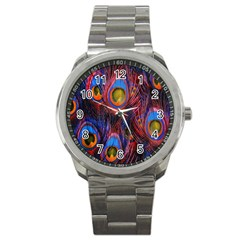 Pretty Peacock Feather Sport Metal Watch