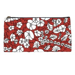 Cvdr0098 Red White Black Flowers Pencil Cases