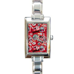 Agghh Pattern Rectangle Italian Charm Watch