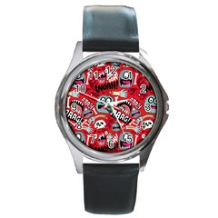 Agghh Pattern Round Metal Watch