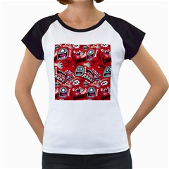 Agghh Pattern Women s Cap Sleeve T