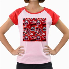 Agghh Pattern Women s Cap Sleeve T Shirt