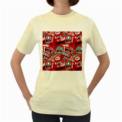 Agghh Pattern Women s Yellow T-Shirt