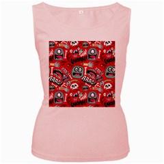 Agghh Pattern Women s Pink Tank Top