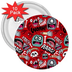 Agghh Pattern 3  Buttons (10 pack)