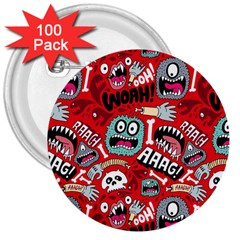 Agghh Pattern 3  Buttons (100 Pack)