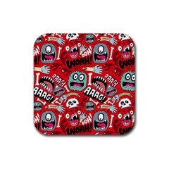 Agghh Pattern Rubber Square Coaster (4 pack)