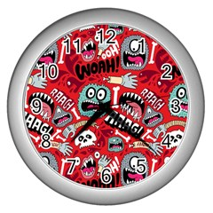 Agghh Pattern Wall Clocks (Silver)