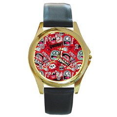 Agghh Pattern Round Gold Metal Watch
