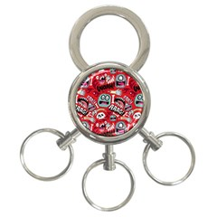 Agghh Pattern 3 Ring Key Chains