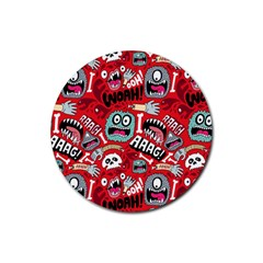 Agghh Pattern Rubber Round Coaster (4 pack)