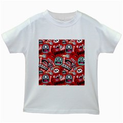 Agghh Pattern Kids White T Shirts