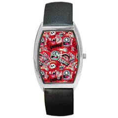 Agghh Pattern Barrel Style Metal Watch