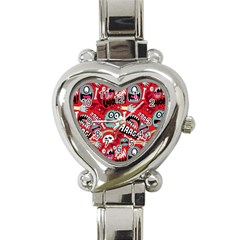Agghh Pattern Heart Italian Charm Watch