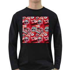 Agghh Pattern Long Sleeve Dark T-Shirts