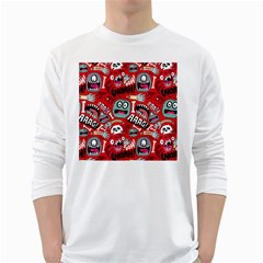 Agghh Pattern White Long Sleeve T-Shirts