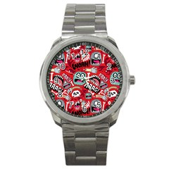 Agghh Pattern Sport Metal Watch