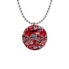 Agghh Pattern Button Necklaces