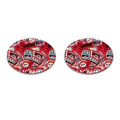 Agghh Pattern Cufflinks (Oval)