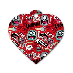 Agghh Pattern Dog Tag Heart (One Side)