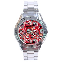 Agghh Pattern Stainless Steel Analogue Watch
