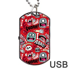 Agghh Pattern Dog Tag USB Flash (One Side)