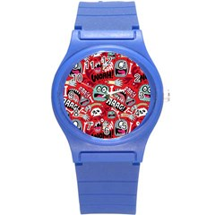 Agghh Pattern Round Plastic Sport Watch (S)