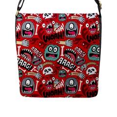 Agghh Pattern Flap Messenger Bag (L)