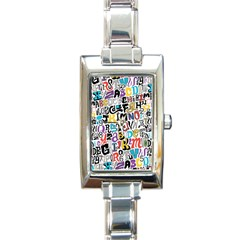 Alpha Pattern Rectangle Italian Charm Watch