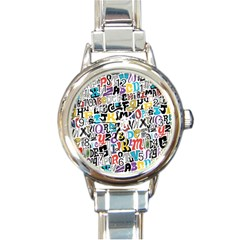 Alpha Pattern Round Italian Charm Watch