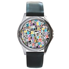 Alpha Pattern Round Metal Watch