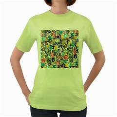 Alpha Pattern Women s Green T-Shirt