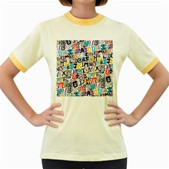Alpha Pattern Women s Fitted Ringer T-Shirts