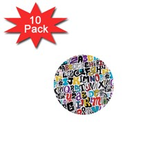 Alpha Pattern 1  Mini Buttons (10 pack)