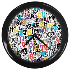 Alpha Pattern Wall Clocks (black)
