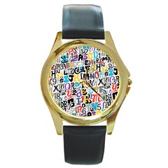Alpha Pattern Round Gold Metal Watch