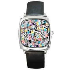Alpha Pattern Square Metal Watch