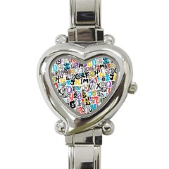 Alpha Pattern Heart Italian Charm Watch