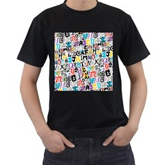 Alpha Pattern Men s T-Shirt (Black) (Two Sided)